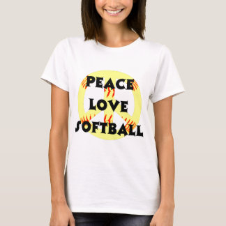 Peace, Love, Softball with peace sign T-Shirt