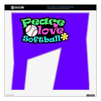 Peace, Love, Softball Xbox 360 S Decal