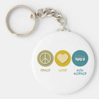 Peace Love Soil Science Keychain