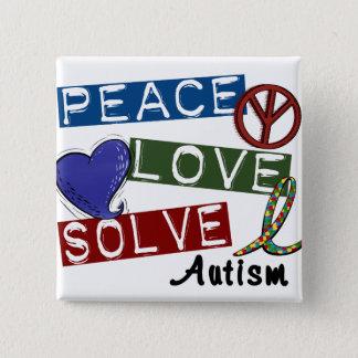 PEACE LOVE SOLVE 1 Autism T-Shirts Button