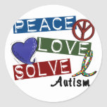 PEACE LOVE SOLVE AUTISM CLASSIC ROUND STICKER