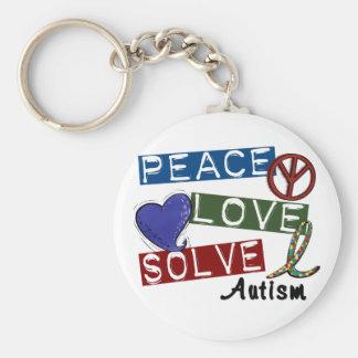 PEACE LOVE SOLVE AUTISM KEYCHAIN