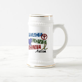 PEACE LOVE SOLVE AUTISM 18 OZ BEER STEIN