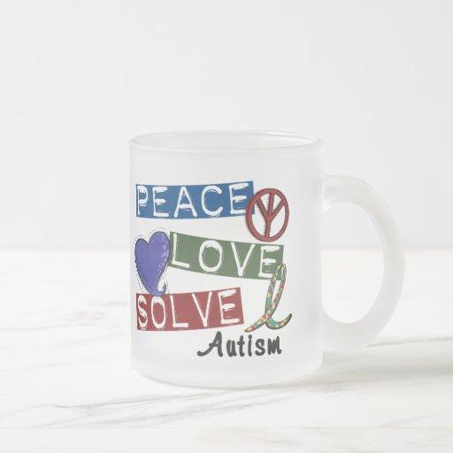PEACE LOVE SOLVE AUTISM MUGS