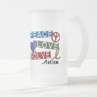 PEACE LOVE SOLVE AUTISM 16 OZ FROSTED GLASS BEER MUG