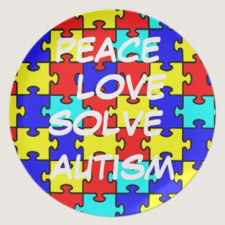 Peace, Love, Solve Autism Plate