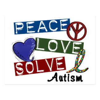 PEACE LOVE SOLVE AUTISM POSTCARD