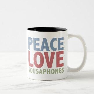 Peace Love Sousaphones Two-Tone Coffee Mug