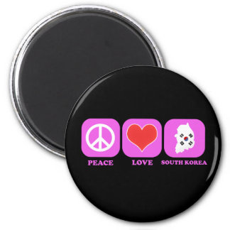 Peace Love South Korea 2 Inch Round Magnet