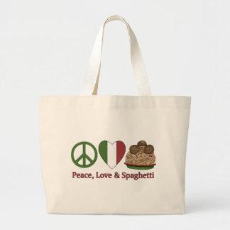 Peace, Love & Spaghetti Large Tote Bag