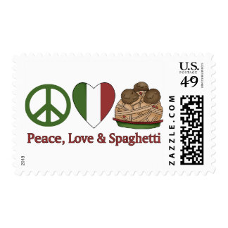 Peace, Love & Spaghetti Postage Stamps