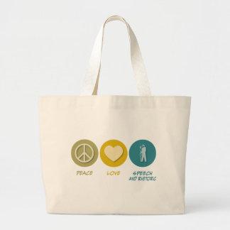 Peace Love Speech and Rhetorical Studies Tote Bags