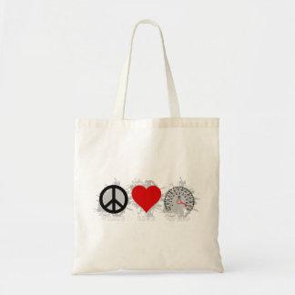 Peace Love Speed  Emblem 3 Tote Bag