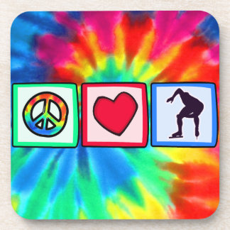 Peace, Love, Speed Skating Drink Coaster