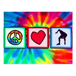Peace, Love, Speed Skating Postcard