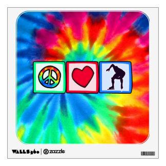 Peace, Love, Speed Skating Room Sticker