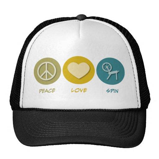 Peace Love Spin Trucker Hat