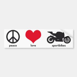 Peace • Love • Sportbikes Bumper Sticker