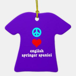 peace love springer spaniel christmas ornament