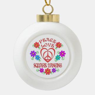 Peace Love Square Dancing Ceramic Ball Christmas Ornament