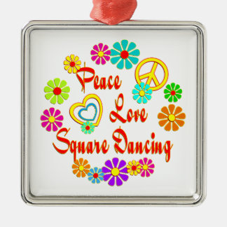 PEACE LOVE Square Dancing Christmas Ornaments