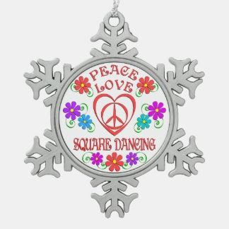Peace Love Square Dancing Snowflake Pewter Christmas Ornament