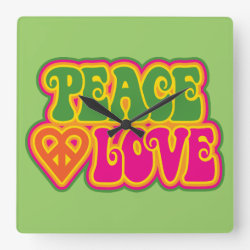Peace Love Square Wall Clock