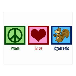 Peace Love Squirrels Postcard