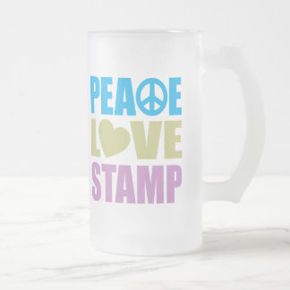 Peace Love Stamp Frosted Glass Beer Mug