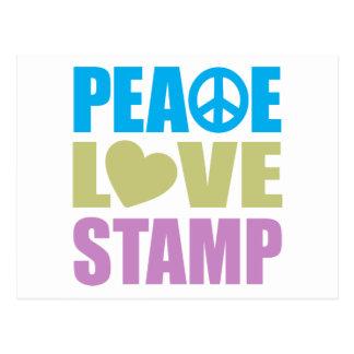 Peace Love Stamp Postcard