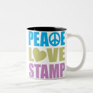 Peace Love Stamp Two-Tone Coffee Mug