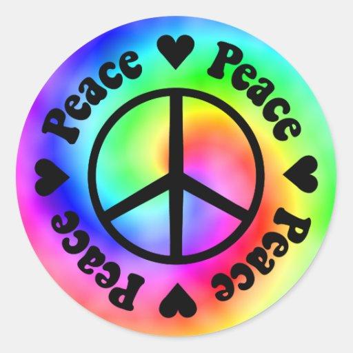 Peace & Love Sticker Round Sticker