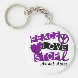 PEACE LOVE STOP Animal Abuse Keychain