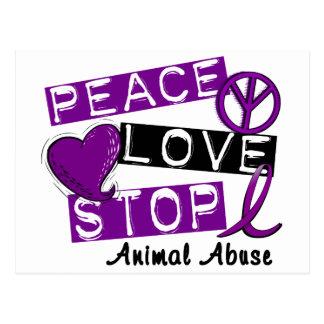 PEACE LOVE STOP Animal Abuse Postcard