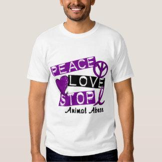 PEACE LOVE STOP Animal Abuse Tee Shirt