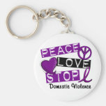 PEACE LOVE STOP Domestic Violence T-Shirts Basic Round Button Keychain