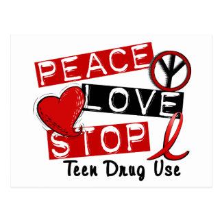 Peace Love Stop Teen Drug Use Postcard