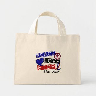 PEACE LOVE STOP The War T-Shirts & Gifts Mini Tote Bag