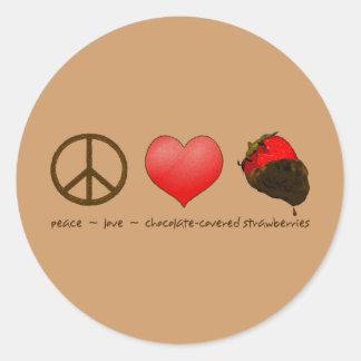 Peace Love Strawberries Classic Round Sticker