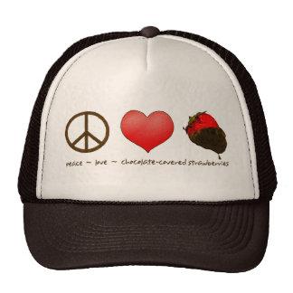 Peace Love Strawberries Hats