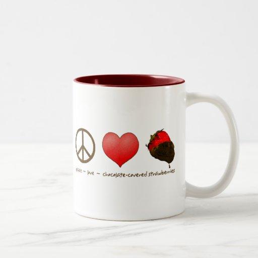 Peace Love Strawberries Mug