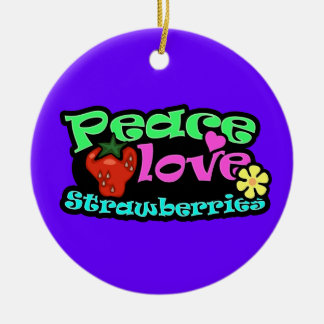 Peace, Love, Strawberries Ornaments