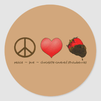 Peace Love Strawberries Round Stickers