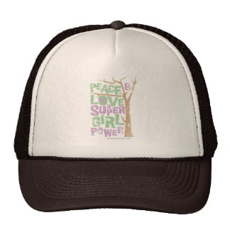Peace Love Supergirl Power Mesh Hats