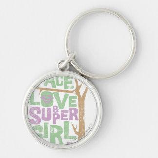 Peace Love & Supergirl Power Keychain