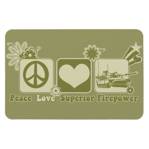 Peace Love Superior Firepower Rectangle Magnets
