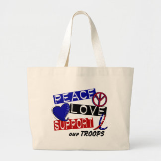 PEACE LOVE SUPPORT Our Troops T-Shirts & Apparel Jumbo Tote Bag