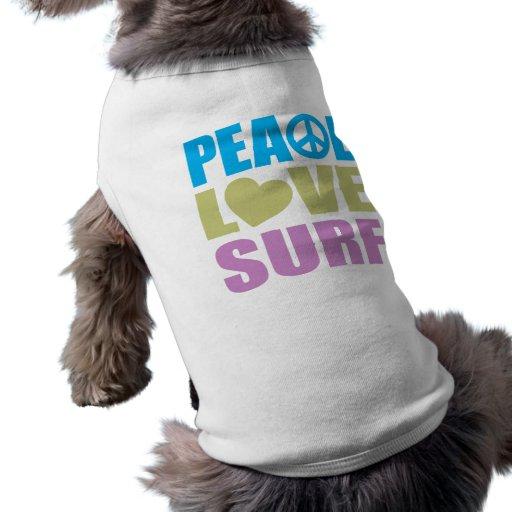 Peace Love Surf Dog T Shirt