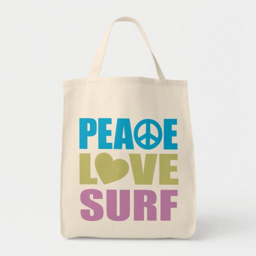 Peace Love Surf Grocery Tote Bag
