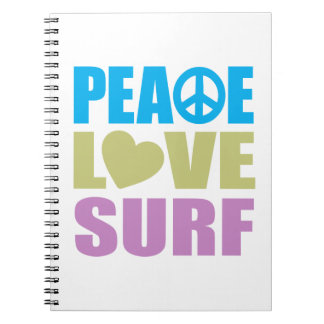 Peace Love Surf Spiral Notebook